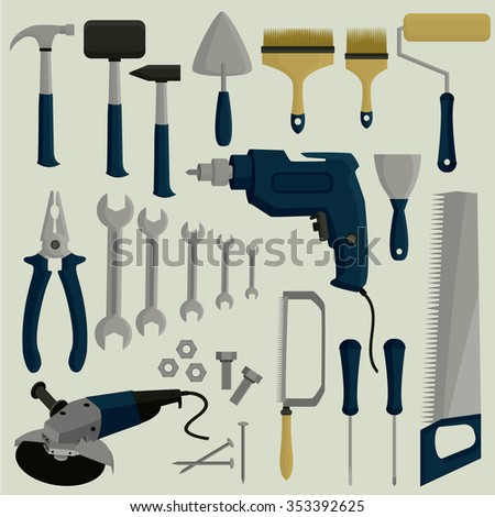Working tools. Big vector set.