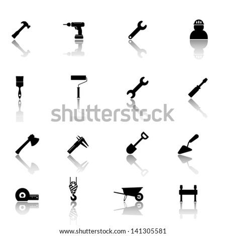 Working  tools black icon set - stock vector