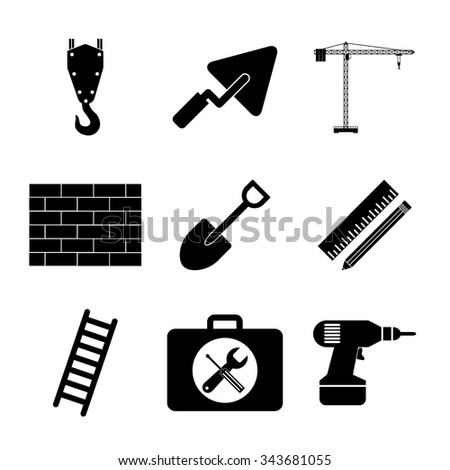 Working tools icon set. Flat design style eps 10 - stock vector