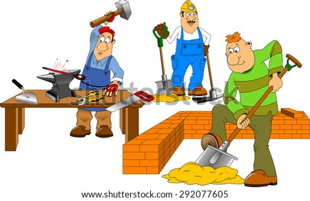 working with a shovel and a pick on a white background, vector - stock vector