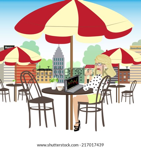 Working woman chill out and do trade the stock market with her laptop in small coffee shop. Outdoor life in the city. - stock vector