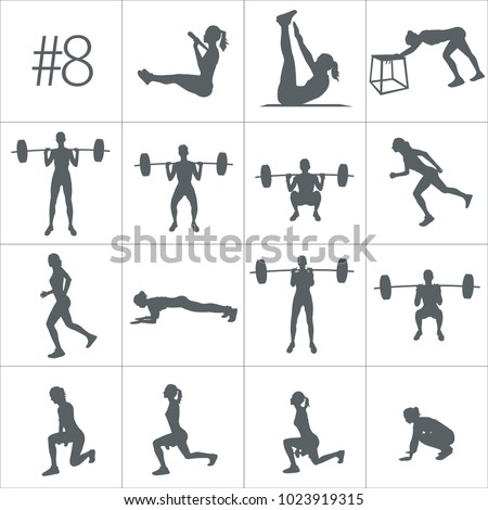 Workout concept. Vector silhouettes of people doing fitness workouts in many different position. Active and healthy life concept