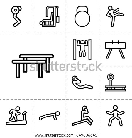 Workout icon. set of 13 outline workout icons such as bar   tightening, abdoninal workout, kettle, fintess equipment, horizontal bar, man doing exercises, man on treadmill