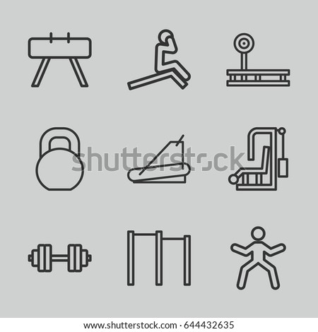 Workout icons set. set of 9 workout outline icons such as treadmill, barbell, barbell   isolated, horizontal bar, fintess equipment, man doing exercises