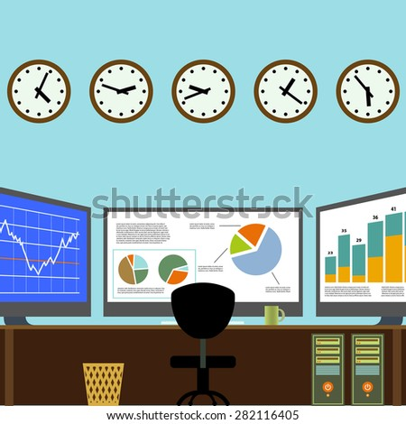 Workplace broker. Analytical Center. Trading Exchange. Vector Image Stock. - stock vector