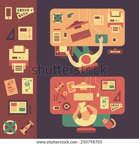 Workplace. Business, computer, design, drawing tools. Vector flat illustrations and icons  - stock vector