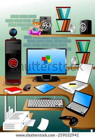 Workplace computer designer staffed printer, scanner, tablet - stock vector