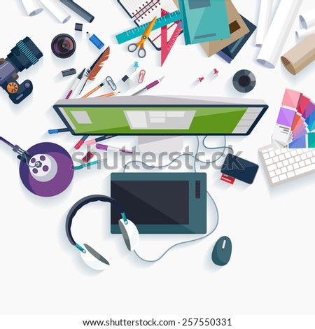 Workplace concept. Flat design. - stock vector