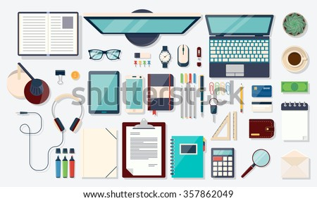 Workplace concept. Flat design modern vector illustration. Top view of desk background with laptop, digital devices, office objects, books and documents - stock vector
