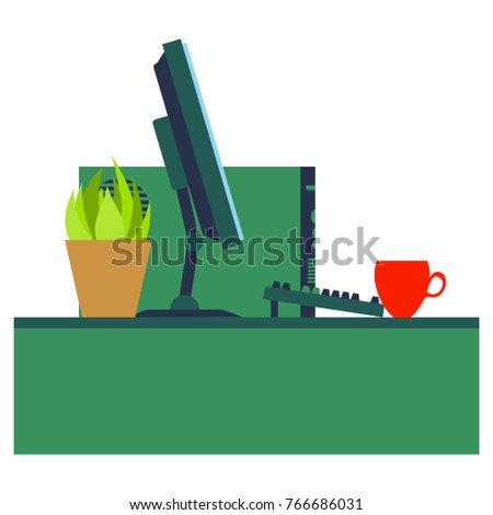 Workplace Desk computer plant coffee Top Angle View Flat Vector Illustration