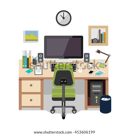 Workplace flat design. - stock vector