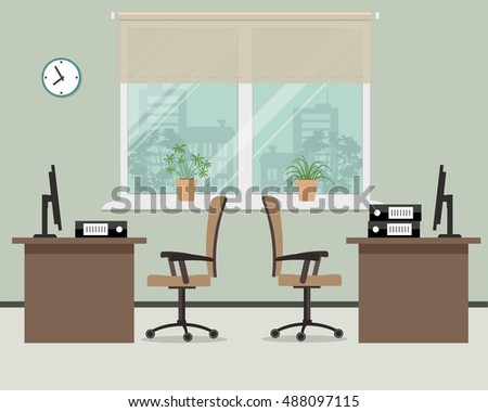 Workplace for two office workers. Vector illustration. There is a tables, chairs, the computers and other objects in the picture. Office objects are situated on a window background