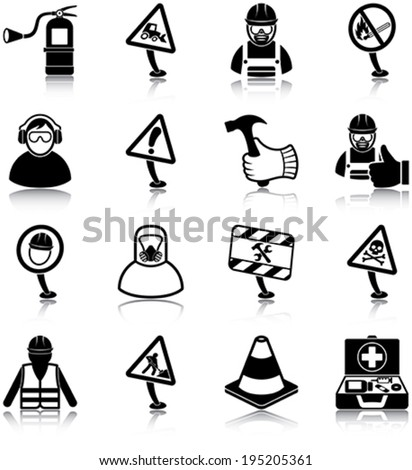 Workplace health and safety related icons/ silhouettes - stock vector
