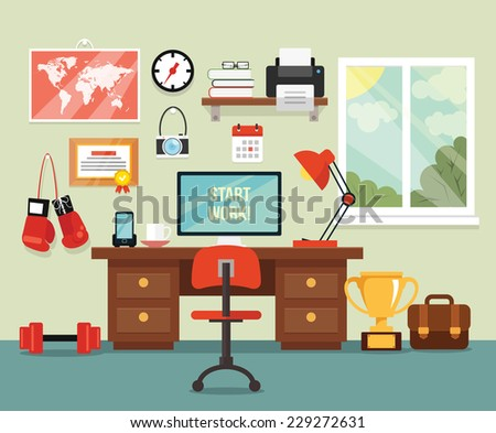 Workplace in room. Vector flat illustration - stock vector