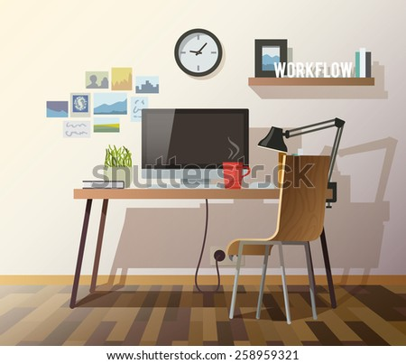 Workplace in sunny room. Stylish and modern interior.Quality design illustration, elements and concept. Flat style.#3 - stock vector