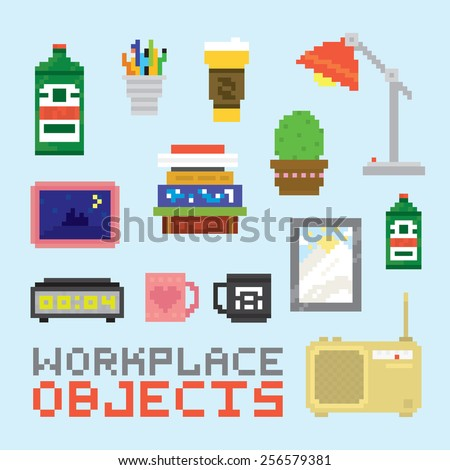 Workplace objects in pixel art style vector set