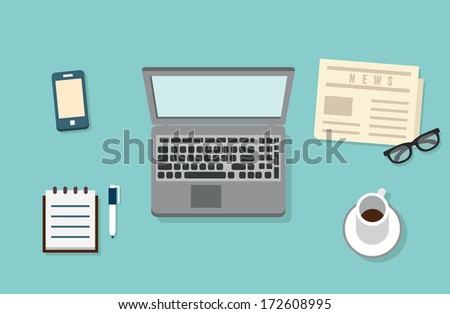 Workplace of businessman with mobile devices, laptop, newspaper and documents for work. Flat design style with shadows - vector illustration - stock vector
