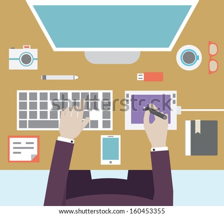 Workplace of designer with devices for work. Flat style - vector illustration - stock vector