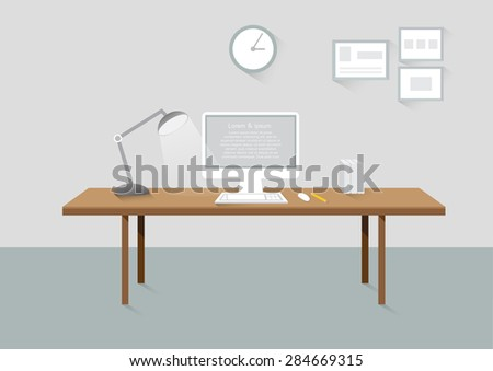 Workplace room creative office design elements flat design with long shadows - stock vector