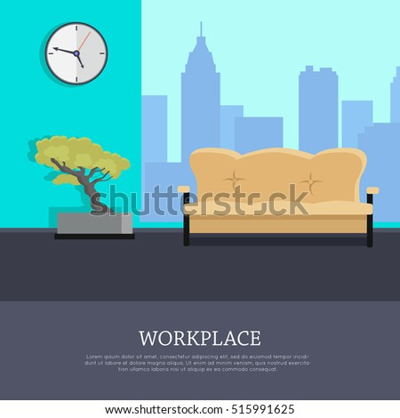 workplace vector concept flat design office room with sofa bonsai tree clock bonsai tree office window