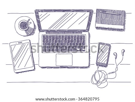 Workplace with laptop, notebook, smartphone, tablet and cup of coffee vector drawn illustration - stock vector