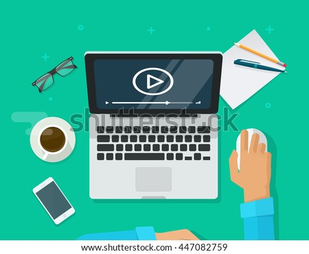 Workplace with person working on laptop watching video player, concept of webinar, business online training, education on computer, e-learning concept, video tutorial vector illustration - stock vector