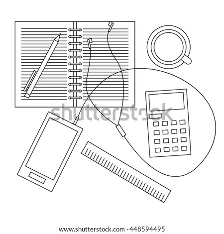 Workplace with smartphone and cup of coffee vector drawn illustration