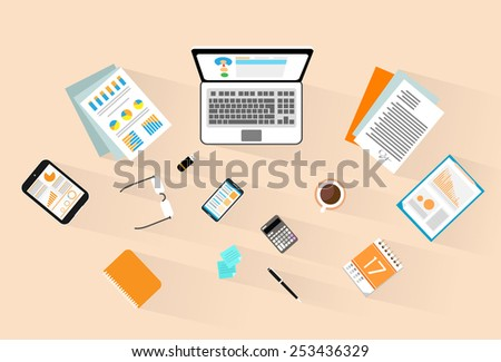 workplace wooden desk top angle view laptop, phone tablet, vector illustration - stock vector