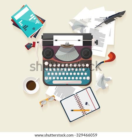 Workplace writer. Flat design. - stock vector