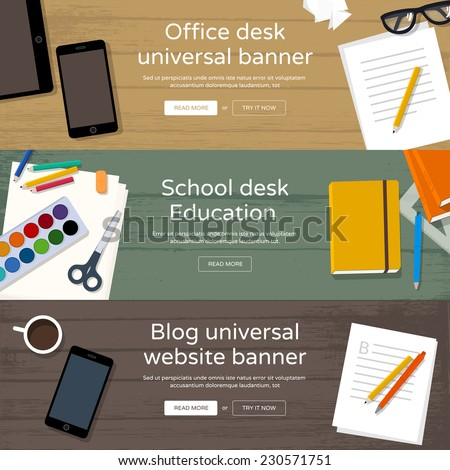 Workplaces top view - Office desk, School table, Bloggers workplace with coffee an phone. Set of home page website banners - every object is grouped, easy editable, you can make your own compositions. - stock vector