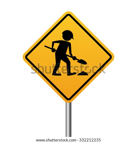 Works in progress yellow sign isolated on white background. - stock vector