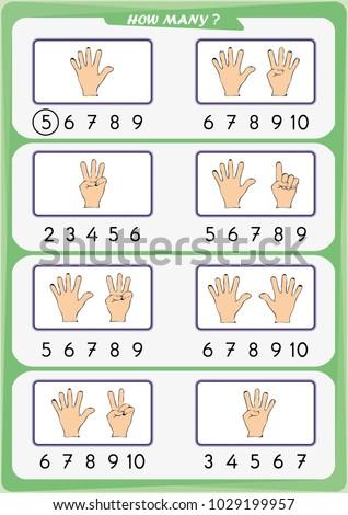 Worksheet Preschool Children Count Number Objects Stock Vector