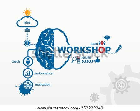 Workshop concept. Hand writing Workshop with blue marker - stock vector