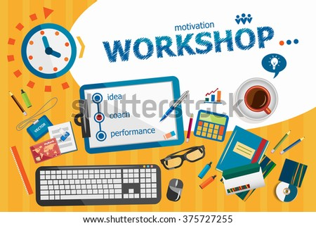 Workshop concept. Typographic poster. Workshop concepts for web banner and printed materials. - stock vector
