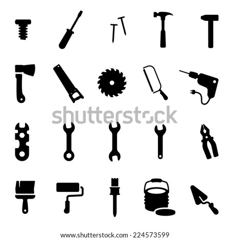 Workshop Tools Icon Set - stock vector