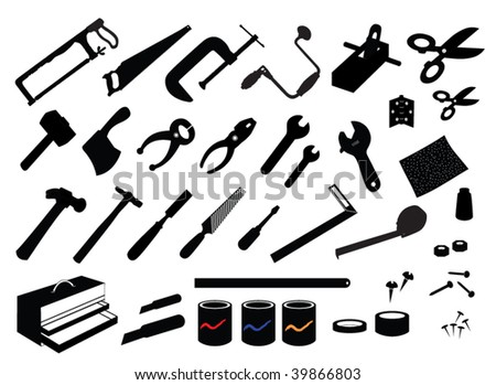 Workshop Tools Vector - stock vector