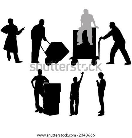 Workshop workers with barrows - stock vector