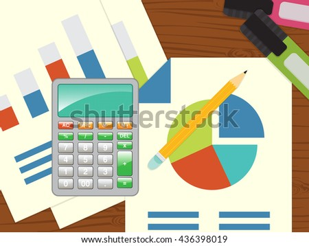workspace, calculator and sheets of report. financial and tax calculation, turnover or earning analysis. marketing share  - stock vector