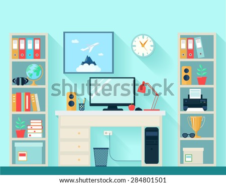 Workspace in room with computer table and bookshelves on blue wallpaper background flat vector illustration - stock vector