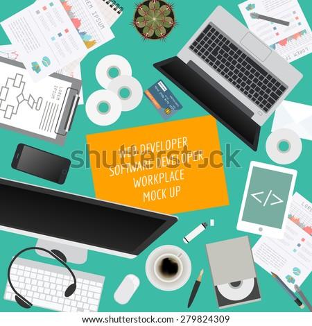 Workspace of the web developer, software developer. Mock up for creating your own modern creative office desktop workshop style. Flat design vector mock up. Vector illustration - stock vector