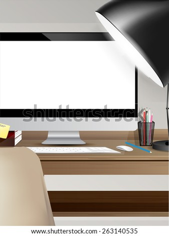 workspace with computer on home or studio vector