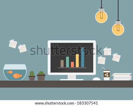 workstation desk vector - stock vector