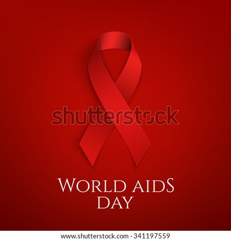 World AIDS day background. Red ribbon on red background. Vector illustration. - stock vector