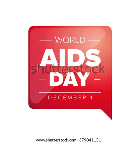 World AIDS Day - December 1 red label - stock vector
