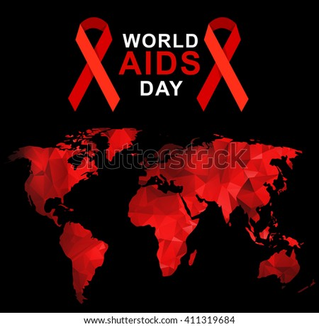 World aids day 1st december world stock vector 411319684 shutterstock world aids day 1st december world aids day poster with with red polygonal world map gumiabroncs Choice Image