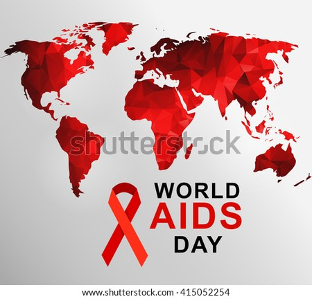 World aids day 1st december world stock vector 415052254 world aids day 1st december world aids day poster with with red polygonal world map gumiabroncs Choice Image