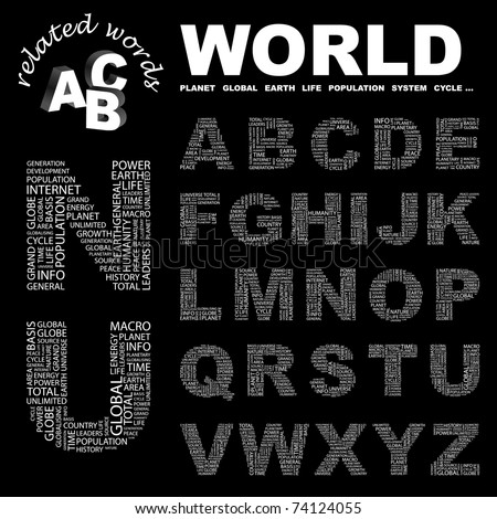 WORLD. Alphabet. Illustration with different association terms.