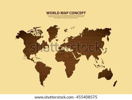 World and Map concept represented by earth icon. Brown illustration.  - stock vector
