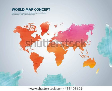 World and Map concept represented by earth icon. Colorfull and watercolor illustration.  - stock vector