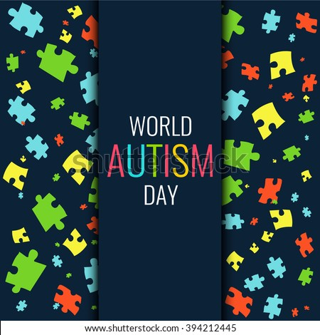 World Autism Day. Autism awareness poster with multicolored puzzle pieces on dark background. Autism solidarity day. Symbol of Autism. Vector illustration. - stock vector